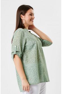 """Блуза """"Лина"""" 41108 (Оливковый принт)"""
