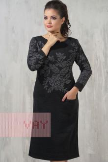 Платье женское 2212 Фемина (Мокрый асфальт/темно-лиловый/яркая фисташка)