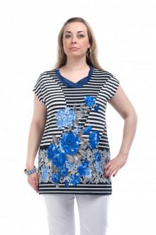 """Блуза """"Олси"""" 1207004.2 ОЛСИ (Цветы/полоска василек)"""